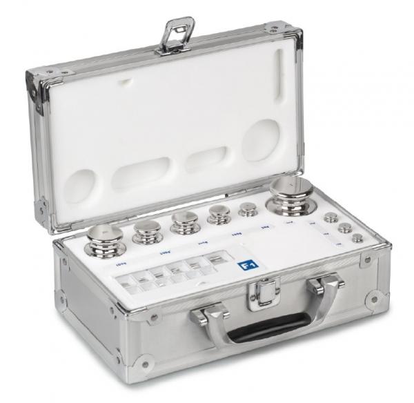 E2 Gewichtssatz, Edelstahl poliert, im Aluminiumkoffer