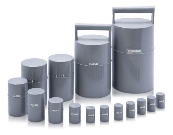 Robustes, gepolstertes Kunststoff-Etui für Aufbewarung und Transprt von Prüfgewichten.