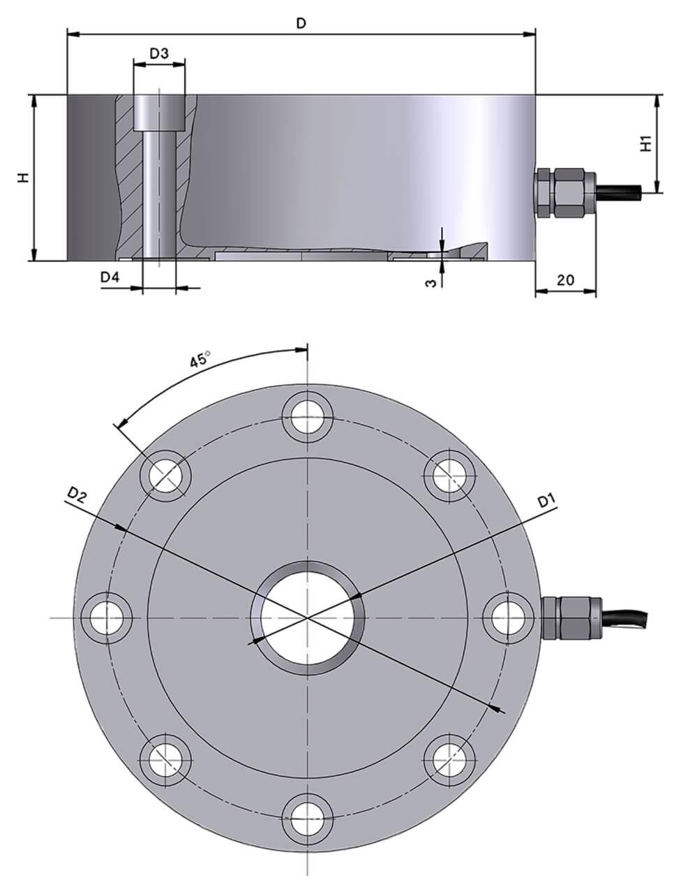 Druckkraftwaegezelle_V60S_Zeichnung